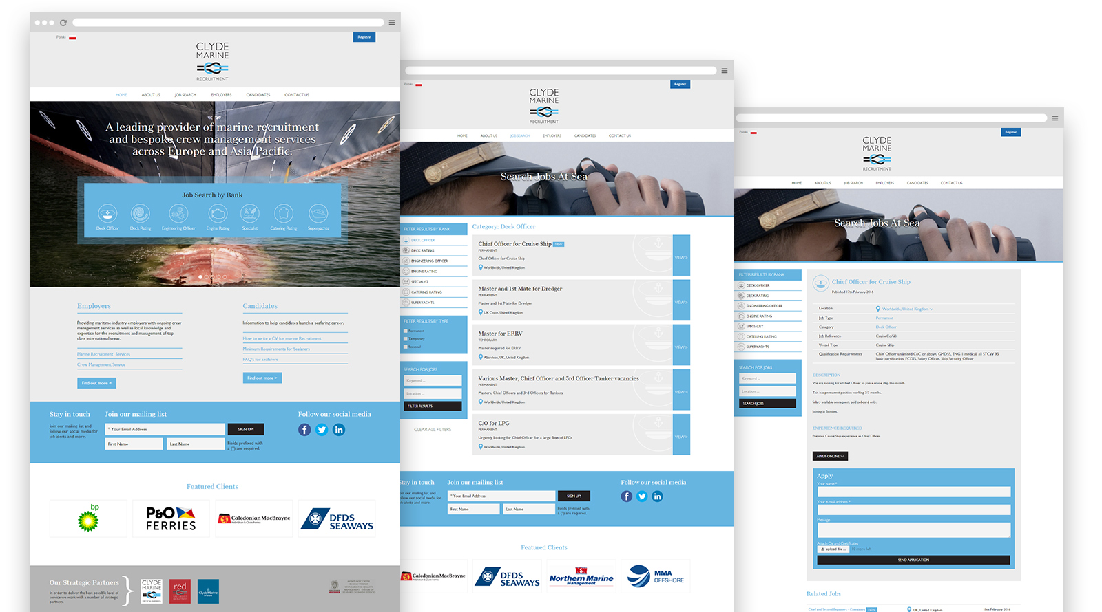 Clyde Marine Recruitment website pages
