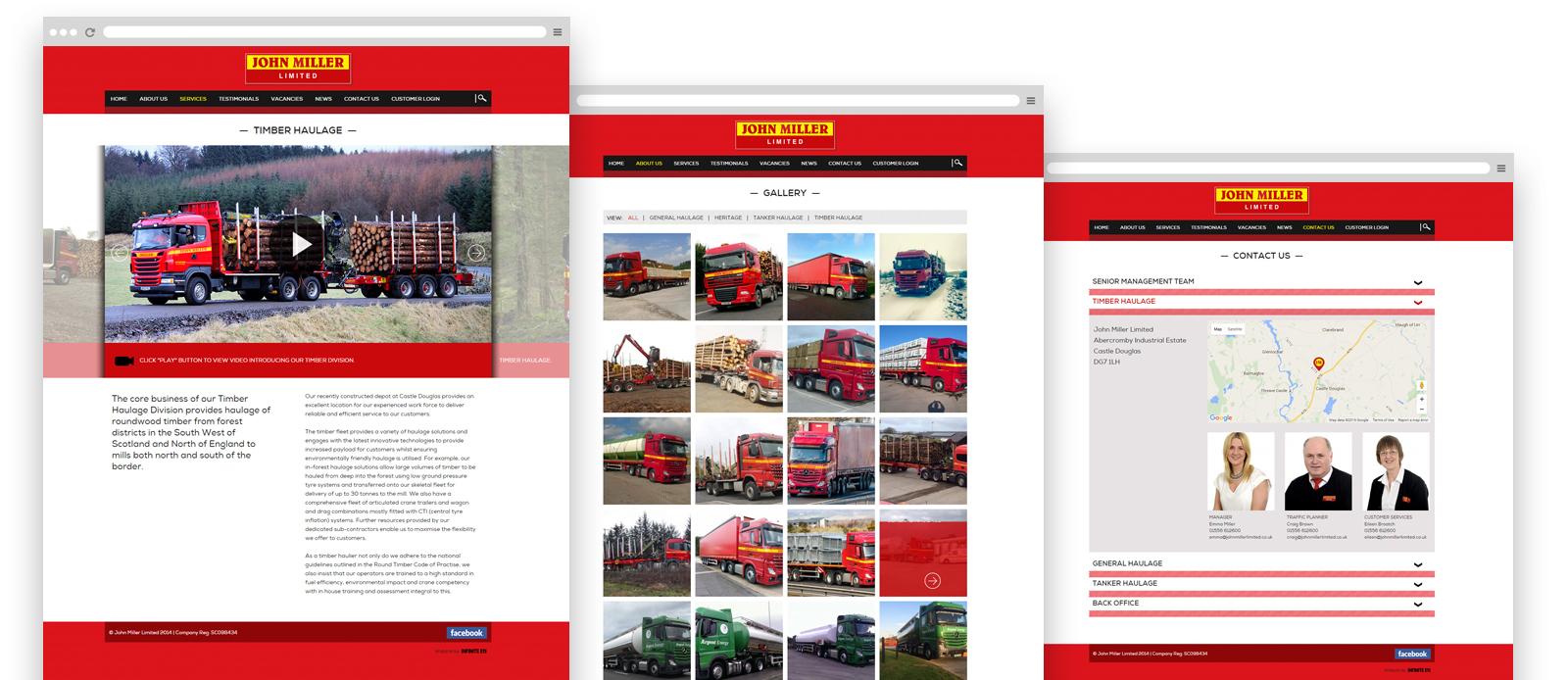 Transport website pages